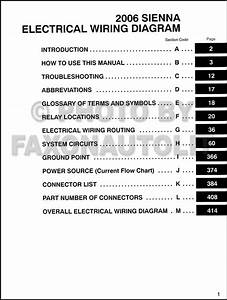 2006 Toyota Sienna Van Wiring Diagram Manual Original