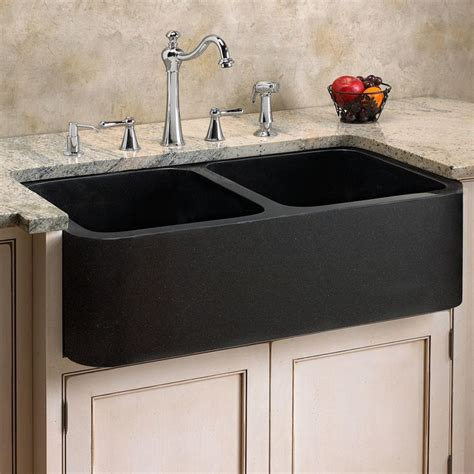 Black Stainless Steel Farmhouse Sink by 33 Quot Polished Granite Bowl Farmhouse Sink Black