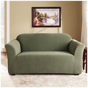 Sure fit stretch loveseat slipcover with dark green color for King furniture slipcovers