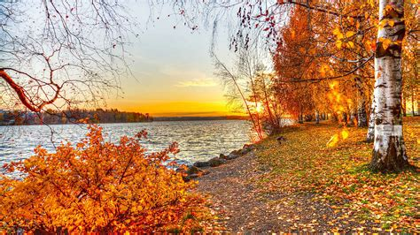 Autumn Lake Wallpapers by Autumn Lake Sunset Wallpaper 1920x1080 29048