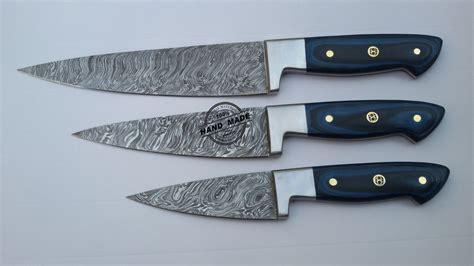 Lot Of 3 Pcs Damascus Kitchen Chef's Knife Custom Handmade