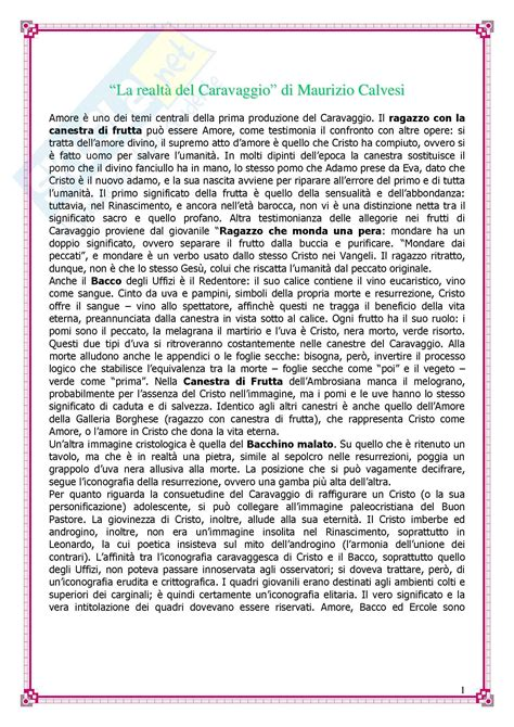 Test Di Storia Dell Arte by Storia Dell Arte Moderna Caravaggio
