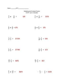 multiplying and dividing fractions worksheet by cary