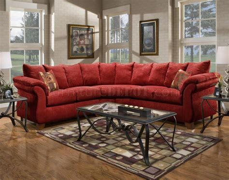 red fabric modern pc sectional sofa wwooden legs
