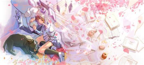 wallpaper anime girl rabbit sakura blossom books