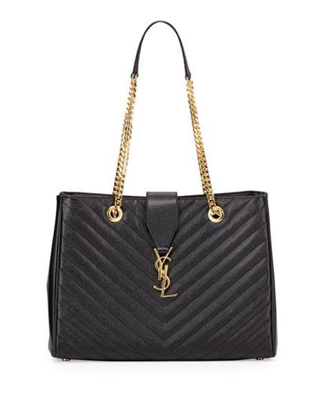 saint laurent monogram matelasse shopper bag black