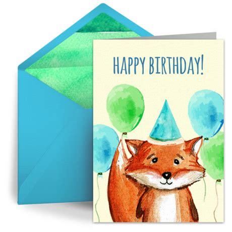 birthday fox  kids happy birthday ecard greeting card birthday wishes punchbowl