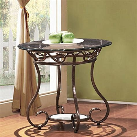 small glass side table adeco glass top bronze metal base round end side table