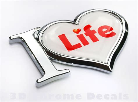 Religious Chrome Emblems I Love Life Decal Chrome Emblem