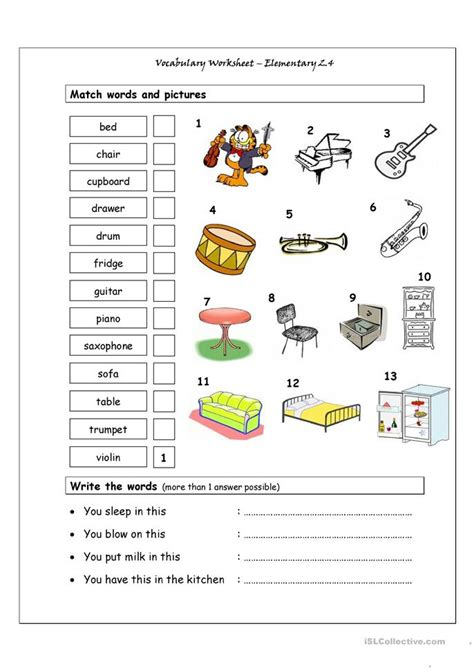 vocabulary matching worksheet elementary  musical