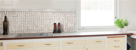 Marble Basketweave Backsplash : White Marble Basketweave Kitchen Backsplash