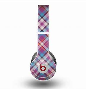 The Striped Vintage Pink & Blue Plaid Skin for the Beats ...