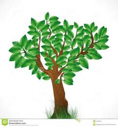 background with green tree and grass stock photography image 18000272