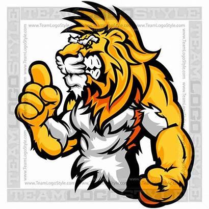 Lion Cartoon Clip Mascot Wrestling Vector Clipart