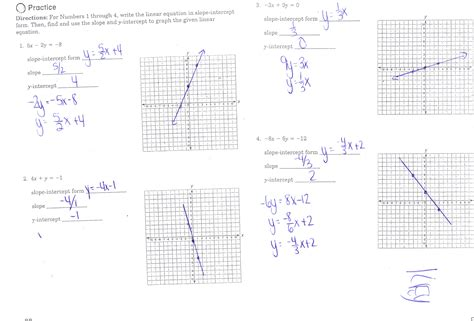 math slope intercept form worksheets print pre algebra