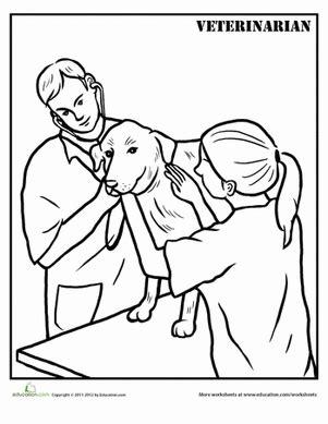 veterinarian coloring page veterinarians worksheets