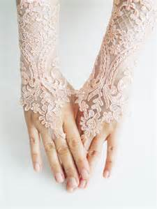lace gloves soft peach pink wedding gloves bridal gloves