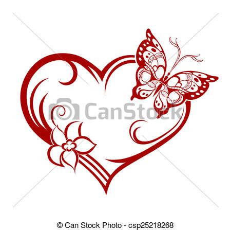 Borboleta coração flor Decorativo coração abstratos