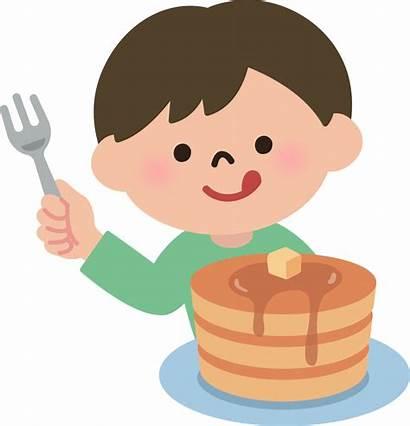 Eating Boy Clipart Pancakes Clip Lunch Pancake