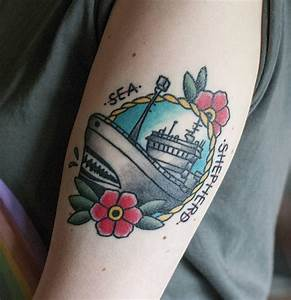 Old school ship for Sea Shepherd by Antti Rönkkö @ Halo Tattoo Tampere, Finland : tattoos