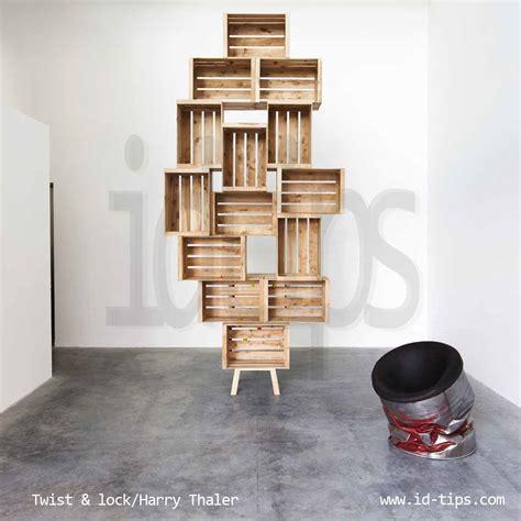 libreria con cassette di legno mobili con cassette di legno galleria di immagini