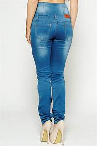 Denim high waisted stretch skinny jeans - from Dollywood Boutique UK