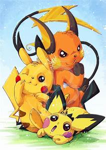 Electric Family 2 by tikopets pikachu pichu raichu ...