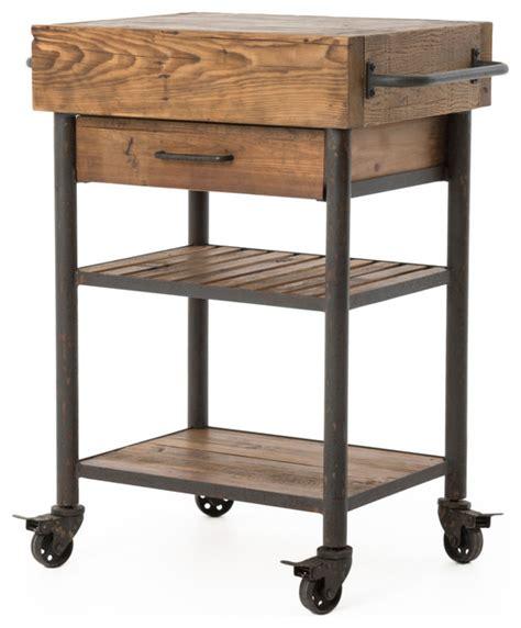 Kershaw Rustic Reclaimed Wood Iron Kitchen Island Cart