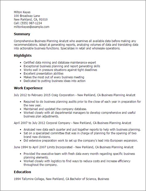 Sle Summary For Business Analyst Resume by Strategic Planning Analyst Resume Sle 28 Images Logistics Analyst Resume International