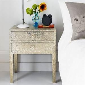 Embossed White Metal 2 Drawer Bedside Table Bedside