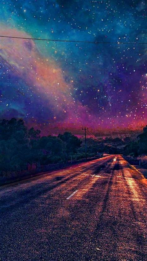 colourful galaxy view road wallpaper iphone wallpaper