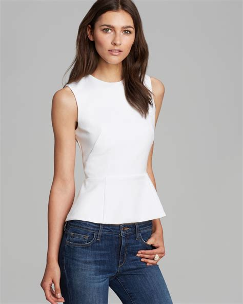 French Connection Top Coco Crepe Peplum in White Lyst