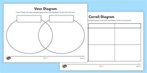 shapes grid and venn diagram worksheets carroll diagram