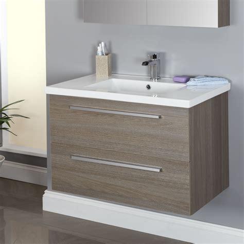 Bathroom Basins And Vanities by Vasari Wall Hung Vanity Unit Basin Grey Oak 800mm