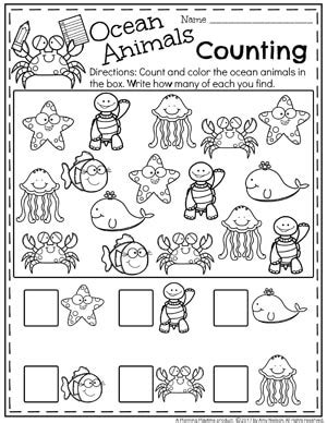 summer preschool worksheets planning playtime 542 | Summer Preschool Worksheets Ocean Life Counting 1