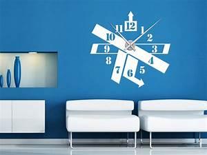 Moderne Wanduhren Design : wandtattoo uhr modern mit uhrwerk und langen zeigern ~ Markanthonyermac.com Haus und Dekorationen