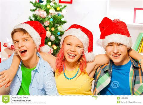 christmas party with happy teens stock photo image 47884608