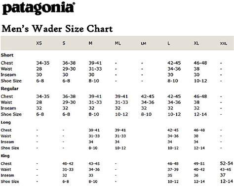 Patagonia Size Chart Womens