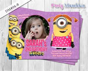 girl minion photo invitation despicable me birthday photo
