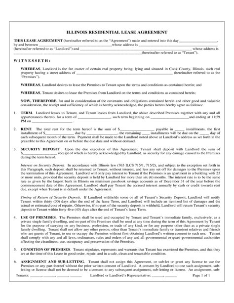 residential lease agreement illinois