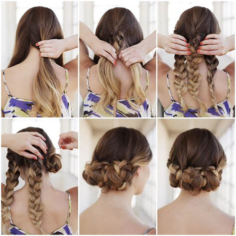 hair style at home for creative ideas diy easy braided updo hairstyle