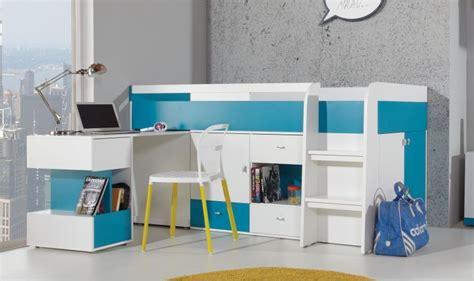 bureau pour lit lit enfant avec bureau coulissant et rangements jolly