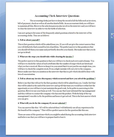 See Once Accounting Clerk Interview Questions
