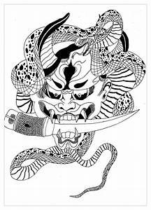 Demon Japonais Dessin : d mon hannya japonais krissy japon coloriages difficiles pour adultes ~ Maxctalentgroup.com Avis de Voitures