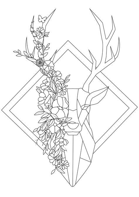 tete de cerf fleurie cerfs coloriages difficiles pour