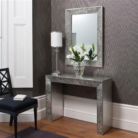 sasha contemporary console table  carckle mirror inlay