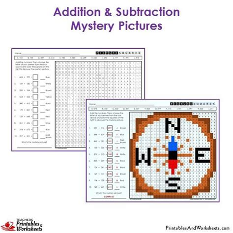 3rd grade addition and subtraction mystery picture coloring worksheets printables worksheets
