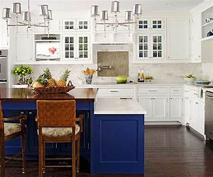 blue kitchen cabinets With kitchens with blue in it