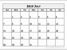 July 2019 Calendar Template calendar month printable