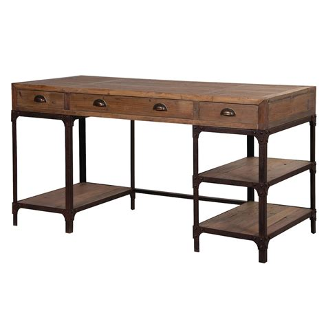 Blaine Industrial Pine Desk with Shelves